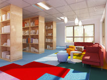 Colorful library in kitch styled school Stock Photography
