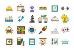 Colorful life  icons set. Set of 24 Colorful entertainment  icons Stock Photos