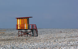 Colorful lifeguard house on empty winter beach Royalty Free Stock Photo
