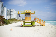 Colorful lifeguard hut Stock Photography