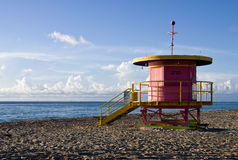 Colorful lifeguard stand, in South Beach, Miami, F. A very colorful lifeguard stand, in South Beach, Miami, Florida Stock Photo