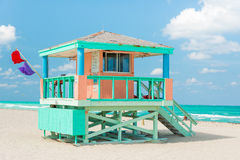 Colorful lifeguard tower in Miami Beach Stock Photos