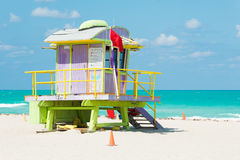 Colorful lifeguard tower in Miami Beach Stock Images