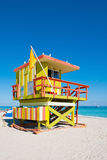 Colorful Lifeguard Tower in Miami Beach, USA Royalty Free Stock Photography