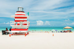 Colorful lifeguard tower in Miami Beach Royalty Free Stock Images