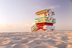 Colorful Lifeguard Tower in South Beach, Miami Beach Stock Photos