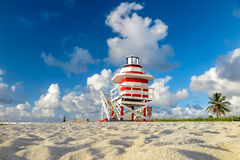 Colorful Lifeguard Tower in South Beach, Miami Beach Royalty Free Stock Photography