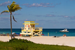 Colorful Lifeguard Tower in South Beach, Miami Beach Royalty Free Stock Photo