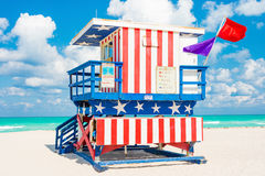 Colorful lifeguard tower in South Beach, Miami Stock Photography