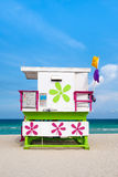 Colorful lifeguard tower on South Beach in Miami Stock Image