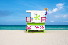 Colorful lifeguard tower on a sunny day in South Beach Royalty Free Stock Images