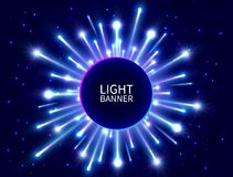 Free Colorful Light Banner With Glowing Rays. Shining Neon Circle Banner. Bright Firework. Blue Star Burst. New Year Background. Vector Royalty Free Stock Photography - 124430447
