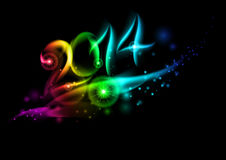 2014 in colorful light. Royalty Free Stock Photos