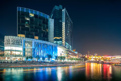 Colorful light building at night in Clarke Quay, located within the Singapore River Area. Royalty Free Stock Image