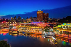 Colorful light building at night in Clarke Quay Singapore Stock Photo