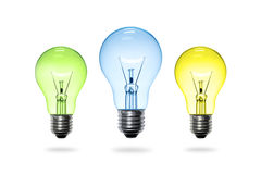 Colorful light bulb. On white background stock photo