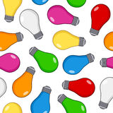 Colorful Light Bulb Seamless Pattern Stock Photography