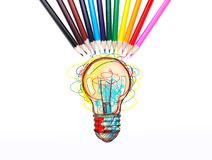 Colorful light bulb, pencils, idea concept royalty free illustration