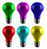 Colorful light bulbs Stock Images