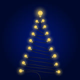 Colorful light bulbs and Christmas tree symbol .Merry christmas Royalty Free Stock Images