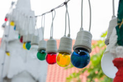 Colorful light bulbs in daylight Royalty Free Stock Photography