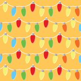 Colorful light bulbs garland seamless pattern. Vector illlustration stock illustration