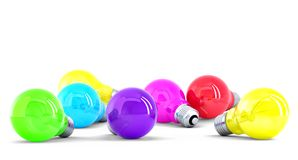 Colorful Light bulbs. Isolated. Contains clipping path Royalty Free Stock Image