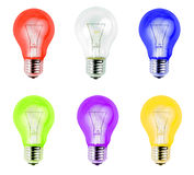 Colorful light bulbs isolated on white background Stock Photo