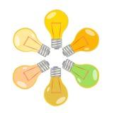 Colorful light bulbs Stock Photos
