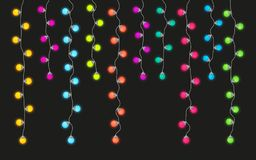 Colorful light lamps garlands set for Christmas and New Year party Stock Images