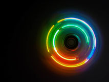 Colorful light neon circle in dark black background Stock Photography