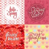 Colorful Light Romantic Spring Backgrounds Set. With calligraphic elegant inscriptions and bright hearts vector illustration vector illustration
