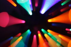 Colorful light zoom. Colorful lights zoom from black Stock Photography
