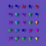 Colorful lightbulbs illustration. Colorful lightbulbs low poly illustration, idea symbol Royalty Free Stock Image
