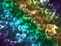 Colorful lighted hearts. Colorful hearts of light in soft focus on black background vector illustration