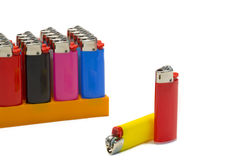 Colorful lighters on white background Stock Photo