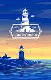 Colorful lighthouse symbol for any navigation concept, also a logo idea. royalty free illustration