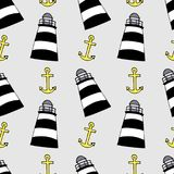 Colorful lighthouses pattern. Bright cartoon illustration for children`s greeting card design, fabric and wallpaper. Colorful lighthouses seamless pattern Royalty Free Illustration