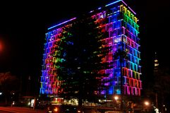 Colorful lighting on building at Hay street mall in Perth, Australia. Colorful lighting on building for show people in night time at Hay street mall on June 1 royalty free stock photos