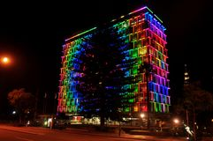 Colorful lighting on building at Hay street mall in Perth, Australia. Colorful lighting on building for show people in night time at Hay street mall on June 1 stock photos