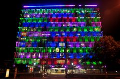 Colorful lighting on building at Hay street mall in Perth, Australia. Colorful lighting on building for show people in night time at Hay street mall on June 1 stock images