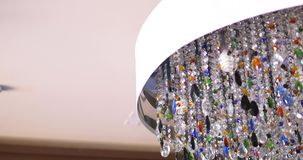 Colorful lighting decoration, Crystal Chandelier stock footage