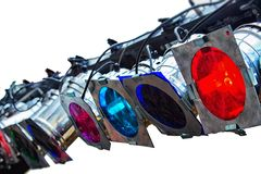 Colorful lighting equipment stock images
