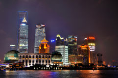 Colorful and lighting night buildings of Shanghai Stock Photography