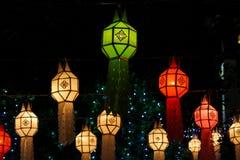 Colorful lightning asian lanterns at night Royalty Free Stock Image