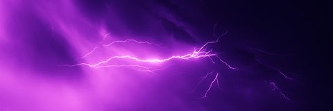 Lightning strike in the night sky. Colorful lightning strike in the night sky during summer storm stock images