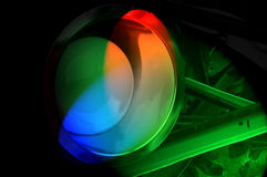 Colorful Lights. From spotlight shining red, ble, green beams on the ground royalty free stock image