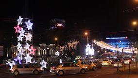 Colorful lights by Christmas at University Square, Bucharest. stock video