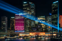 Colorful lights in the City at Vivid Sydney Festival stock photos