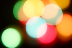 Colorful lights defocused. Colorful discs of out of focus lights Stock Photos